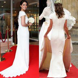 Wholesale Pippa Middleton Dresses - Cheap Pippa Middleton Vintage Bridesmaid Dresses V-Neck Simple Short Sleeves White Satin Sheath Maid Of Honor Dress