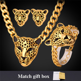 Wholesale Gold Jewellery For Men - New Cool Items Lion Head Choker Necklace Bracelet For Women Men 18K Chunky Gold Plated Jewelry Sets Medusa Jewellery