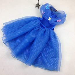 Wholesale Kids Girls Maxi Dress - 2015 Cinderella Dress With LaceTulle Gown Maxi Dress Girls Cosplay Costume Blue Dresses with butterfly Newest Kids Clothing F045 1pcs