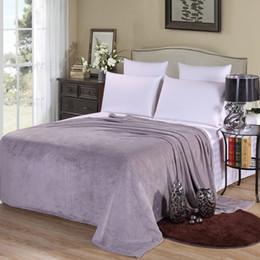 Wholesale Coral Bedspreads - Wholesale- Cheap Hot sale 200x230cm Fleece Blanket super warm soft blandets throw winter blanket on Sofa Bed Plane Travel bedspreads sheets