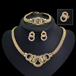 Wholesale Golden Ring 18k - Gold Plated Fine Jewelry Set For Women Beads Collar Necklace Earrings Bracelet Rings Sets Costume Latest Fashion Accessories