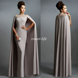 Wholesale Grey Sheath Pleated Dress - Sexy Formal Celebrity Dresses 2015 Elie Saab Cape Vintage Evening Gowns Grey Pleated Ruffles Lace Sheer Neckline Cheap Sheer Prom Dresses