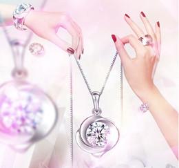Envío gratis 925 Sterling Silver Rose Flower Crystal Necklace Colgante Retro joyería de la mujer desde fabricantes