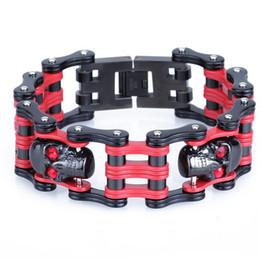 Wholesale Mens Motorcycle Bracelets - Fashion 25MM Width Red Stainless Steel Men's Bracelet Motorcycle Bicycle Chain Bracelets Men Jewelry Skull Male Mens Braceletes