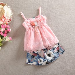 Wholesale Solid Girls Tshirts Wholesale - 2017 New Summer Children Girls 2pcs Set Kids Clothing Suspender Tops+Shorts Ourfits Chiffon Lace Flowers Tank Tshirts Short Pants Sets H2521