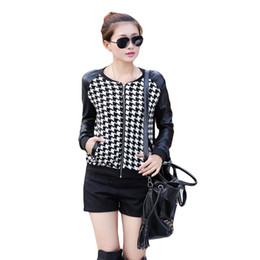 Wholesale Long Thin Leather Coat Women - Short PU Leather Patchwork O Neck Jacket Women Long Sleeves Thin Spring Winter Coat Outerwear Houndstooth Pattern Plus Size
