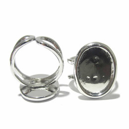 Wholesale Rhodium Plated Silver Ring Blanks - Beadsnice Fashion Jewelry Ring Bases fit 13x18mm Setting Cabochons Blank ID7351