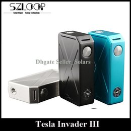 Wholesale Wholesale Men Mechanical - Authentic Tesla Invader III Box Mod 240W Max Output V3 Unregulated Mechanical Mod 510 Thread X Man Design Invader 3