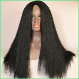 Wholesale Yaki Synthetic Lace Wig - Italian Yaki Synthetic Front Lace Wigs,Glueless Long Kinky Straight Lace Front Wigs,Natural Black Heat Resistant Hair Wigs for Black Women