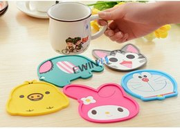 Wholesale Wedding Eco Friendly Placemat - 3D Cartoon Cute Coaster Colourful Silicone Cup Drinks Holder Mat Tableware Placemat Halloween Christmas Party Wedding Supplies