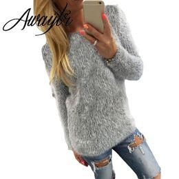 Wholesale Korean Sweater Warm - Wholesale- Awaytr 3 Colors Women Fuzzy Sweater Long Sleeve Tops Knitwear Korean Sweater Pullover Winter Warm Mohair Sweater Drop Shipping