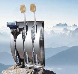 Adhesivo inoxidable online-Nuevo acero inoxidable de tres posiciones de dos posiciones autoadhesivo titular de cepillo de dientes accesorios de baño