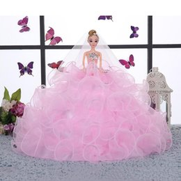 Wholesale Bjd Wedding Dress - Barbie Dolls Girl Gifts Baby Doll Princess Wedding Dolls Brides Doll 3D Barbie Wedding Dress Whole Sale Retail Birthday Gifts Dolls Lovely