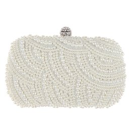 Wholesale White Pearl Clutch Bag - 2015 Hot Fashion Handmade Beaded Pearl Evening Bag Clutch Crystal Purse Bag Party Wedding Bag Free Shipping