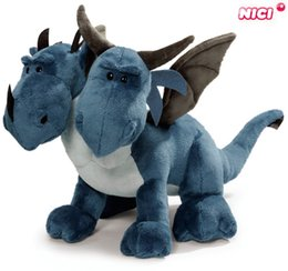 Wholesale Nici Plush Toys - Wholesale-Free shipping 30cm Hot sale cute DOULE HEAD NICI dragon BLUE DINOSAUR plush toy stuffed toy doll Children's Christmas