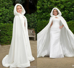 Wholesale Long Fur Trimmed Wedding Cape - Custom Made 2016 Winter White Wedding Cloak Cape Hooded with Fur Trim Long Bridal Jacket WD009