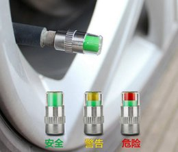 Wholesale Tire Monitor Gauge - alert tire valve caps car tire pressure monitor air cap 2.4bar wheel tyre caps sensor indicator eye alert diagnostic tools gauge wholesale