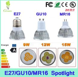Wholesale Spot Light E27 9w - Free shipping High power CREE Led Lamp 9W 12W 15W Dimmable GU10 MR16 E27 E14 GU5.3 B22 Led spot Light Spotlight led bulb downlight lighting