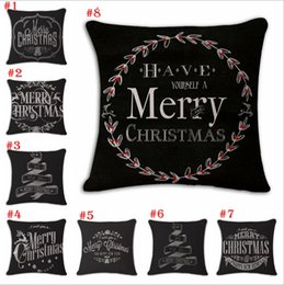 Wholesale Hand Painted Cushions - Christmas Cotton and linen Hand painted illustration Pillow case household sofa cushion cover Christmas Pillowcase decoration 100 pcs YYA785