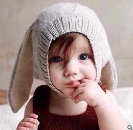 Wholesale Crochet Rabbit Ears - Baby knit hat children cute rabbit bunny ear hat winter toddler kids velvet warmer caps Bebe photography props accessories R0753