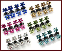 Wholesale Animal Clamp - 12PX flower swarovski crystal mini hair claw Clamp Bridal Flower Girl