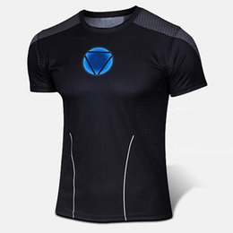 Wholesale Mens Athletic Clothes - Wholesale-Cool Ironman Mens Sport Tight Jersey Shirt Men Athletics Cycling Suit Bodybuild Fitness Clothes US Anime Manga Cartoon Iron Man