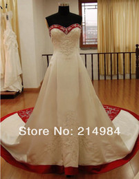 Hochzeit krawatten bilder online-Perlen A Line Brautkleider Neueste Schatz Real Image Prinzessin Binden Brautkleider Best Made W1471 Romantische Rote und Weiße Mode