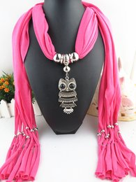 Wholesale Color Owl Necklace - Dark Grain Beads Women owl Pendant Scarf Necklace Solid Color Multicolor Winter warmth Dark Grain DIY Beads Women Pendant Scarf Necklace