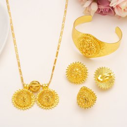 Wholesale Bridal Jewelry Set 24k - Big Twin Pendant Lovable Smiling face Wedding Jewelry Sets Heavy 24k Real Solid Fine Gold Filled Luxurious Bridal Romantic Women