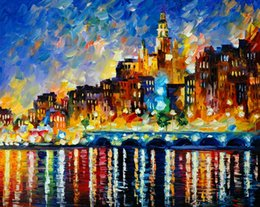 Wholesale River Paintings - Unframed Free Shipping Prints Russian Federation Color oil painting Bridge city lighting river street lamp tree umbrella Forest path ship