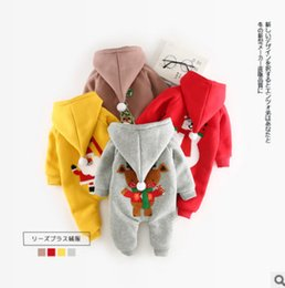 Wholesale Kids Fleece Jumpsuit - Newborn reindeer romper toddler kids fleece thicken hooded jumpsuits baby girls boys santa claus christmas tree applique romper R1419