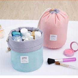 Wholesale Three Barrel - Circular makeup bag elegant large capacity Barrel Shaped Nylon Wash Organizer Storage Travel Dresser Pouch Cosmetic Makeup Bag For Women