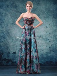 Wholesale Cheap Print Prom Dresses - Real Photo Image Cheap A line Sweetheart Pleats Floor Length Printed Chiffon Prom Party Gowns Designer Evening Dresses DL11034