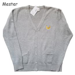 Wholesale Sailor Moon Uniform - Wholesale- Japanese Uniform Embroidery Cardigan Student Sweet Cute Sailor Moon Sweaters Long Sleeve Buttoned Cotton Cardigan Coat Plus Size