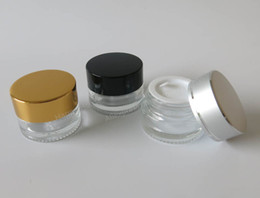 Wholesale Gold Diy - Free shipping - DIY 5G glass cream container,5ml glass cream jar with gold,silver,black cap, 5g glass cosmetic case