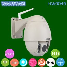 Wholesale Wireless Ptz Webcam - WANSCAM HW0045 Build in 16G TF Card ONVIF Wireless Outdoor IP Camera Night Vision 80m Wifi P2P PTZ Waterproof Security Webcam