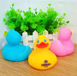 Wholesale Rubber Press - Creative Cartoon Duck Safety Rubber Dolls Baby Bath Water Toys Press Sounds Kids Sand Play Water Fun Kids Swimming Toys 30pcs lot SK575