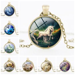 Wholesale Body Jewelry Necklaces - New Style Cute Unicorn Crystal Necklace Jewelry Body girls sweater Chain Cartoon Jewelry For Child gift 24 style