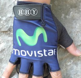 Wholesale Gloves Movistar - Wholesale-Free Shipping ! 2015 movistar Cycling Gloves Ciclismo Half Finger Guantes MTB 05