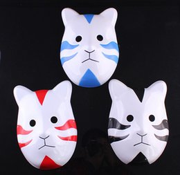 Wholesale Naruto Back - 100pcs lotWholesale Cosplay Costume Naruto Mask Japanese Anime Uchiha Madara Full Face Cat Mask Red Black Blue Color