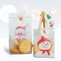 Wholesale Santa Christmas Wrap - Wholesale- 50pcs lot Santa Claus and OPP Candy and Biscuits Snack Baking Self-adhesive DIY Snowman Christmas Gift Packaging Bag B072