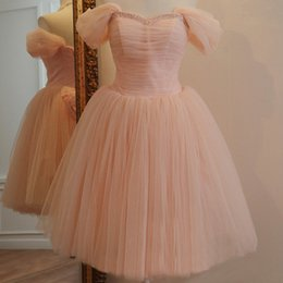 Wholesale Tulle Bridesmaid Gowns - Pink Tulle Knee Length 2015 Bridesmaid Dresses with Pleats Sweetheart Beaded Wedding Party Dresses Bridesmaids Gowns with Bow TS005