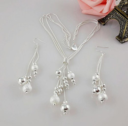 Wholesale Wholesale Beads 925 China - 2016 Factory Direct Sales Women Gift 925 Sterling Silver Fashion Beads Frills Dangle Earrings Necklace Set 5 Sets Lot