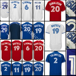 Wholesale Grey Baseball Jerseys - stitched #19 Jose Bautista jersey Men 2 Troy Tulowitzki 6 Marcus Stroman 11 Kevin Pilar29 Joe Carter 12 Collection Jerseys