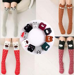 Wholesale Cat Footwear - Baby Fashion Socks Girls Knee High Socks Fox Cat Stockings Cartoon Cotton Hosiery Bear Stripe Footwear Animal Print Leg Warmers KKA3488