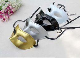 Wholesale Cheap Masquerade Venetian Masks - Cheap gold Venetian masquerade masks for Halloween masquerade balls Mardi Gras Prom Dancing Party half eye silver Masks for men and women