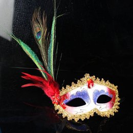 Wholesale Peacock Feather Masquerade Masks - party masks 6 Color Elegant peacock upper half face Feather Masquerade mask Mardi Gras mask H43