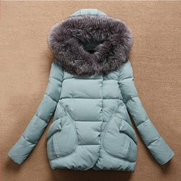 Wholesale Coat Clearance - Wholesale-Clearance Women Jackets 2015 Casual Thick Warm Coat Solid Big Faux Fur Collar Hooded Cotton -Padded Jacket Outdoor Parkas Winter