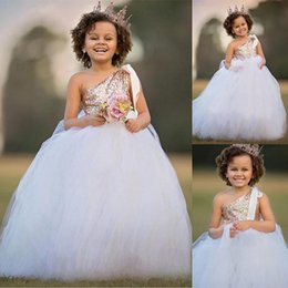 Wholesale Tutu Dress One Shoulder - Tutu Rose Gold Sequin Ball Gown Flower Girl Dresses One Shoulder African Girls Floor Length Pageant Dresses Kids Formal Birthday Party Dress