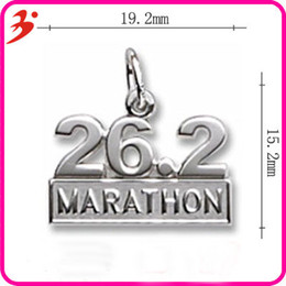 Wholesale Wholesale Sports Signs - Alloy 26.2 Marathon Charms Rhodium And Gold Plated Sport Sign Bangle Charms For Marathon Runner 50pcs AAC842